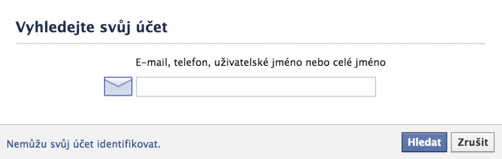 Obnovení hesla pomocí emailu, telefonu nebo jména
