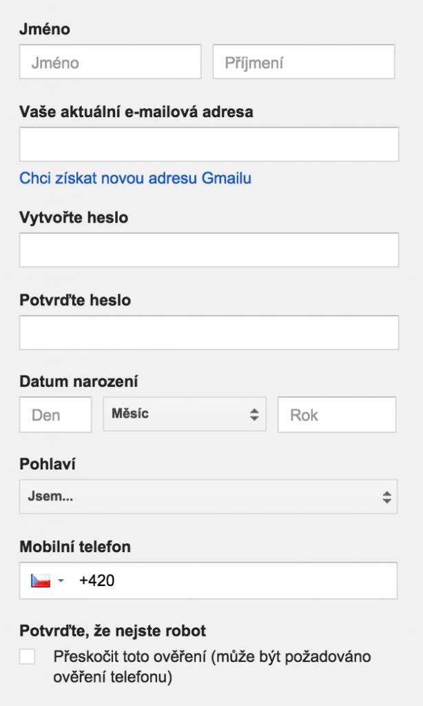 Registrace na yutoob