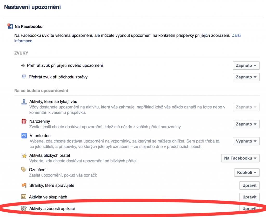 Nastavení upozornění na Facebooku