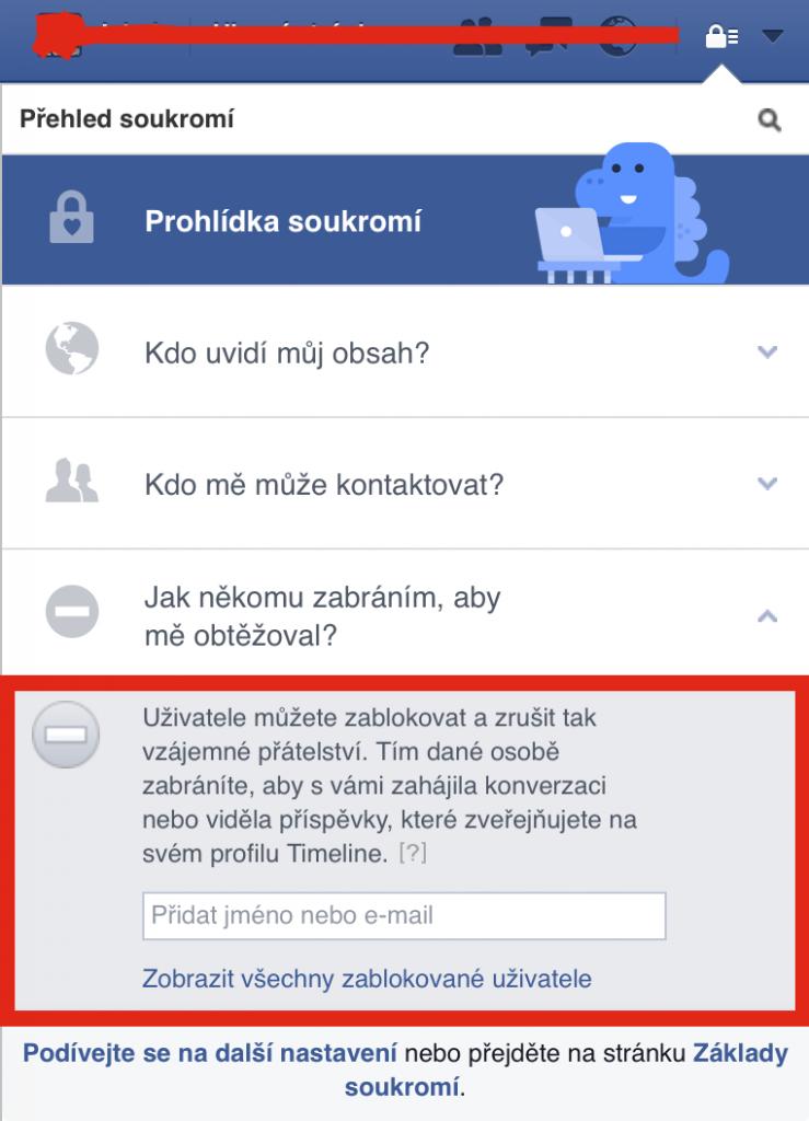 Zablokování uživatele na Facebooku